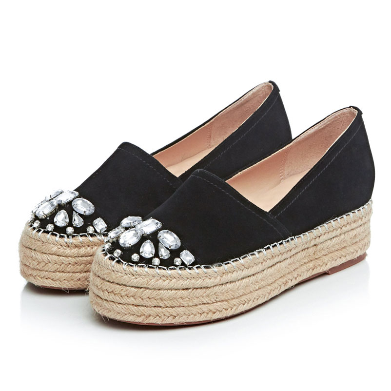 2017 Shoes Woman Genuine Leather Creepers Women Flats Slip On Loafers Platform Flat Shoes Rhinestones Espadrilles Women Creepers цены онлайн