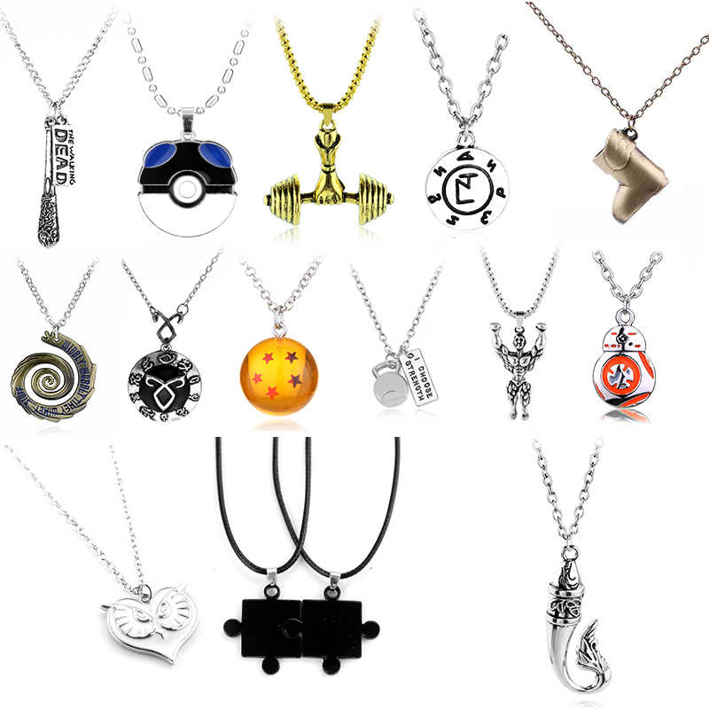 Cheaper Price Walking Dead Legend of Zelda Dumbbells Star Wars Dota Viking Necklace Vintage Gothic Chain Kolye Long Necklace