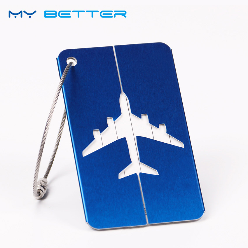 1PC Luggage Bags Accessories Aluminium Travel Luggage Label Straps Suitcase Address Luggage Tags 5 Color wulekue rectangle aluminium alloy luggage tags travel accessories baggage name tags suitcase address label holder