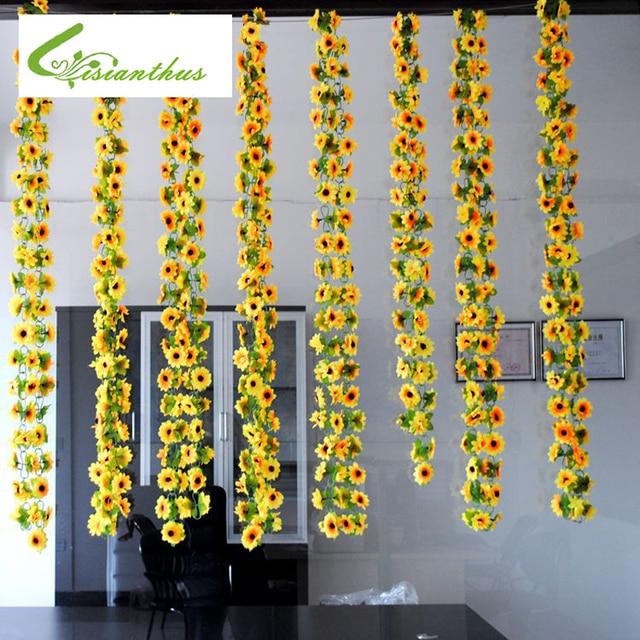 Hot Sale 1pcs Artificial Yellow Sunflower Garland Silk Wedding Party