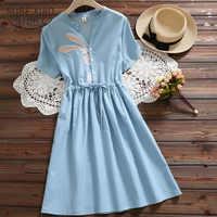 summer clothes for women Rabbit Embroidery Dress V-neck Drawstring Blue Femininos Vestidos Short Sleeve Elegant Dress 4618 50