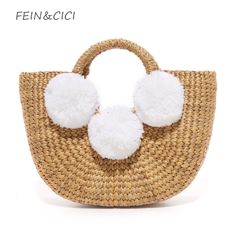 beach bag straw totes bag small bucket summer bags with pom pom women handbag braided 2018 new high quality Rattan Bag straw clutch bag with pom pom