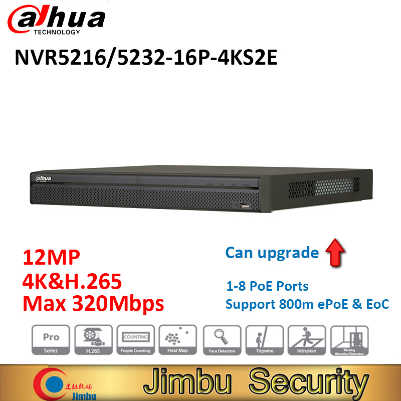 Dahua NVR NVR5216-16P-4KS2E NVR5232-16P-4KS2E heat map 16poe port 1-8 PoE Support 800m ePoE & EoC Up to 12MP people counting original eoc salve mss5004w 4fe wifi eoc slave with 4 rj45 port ont onu