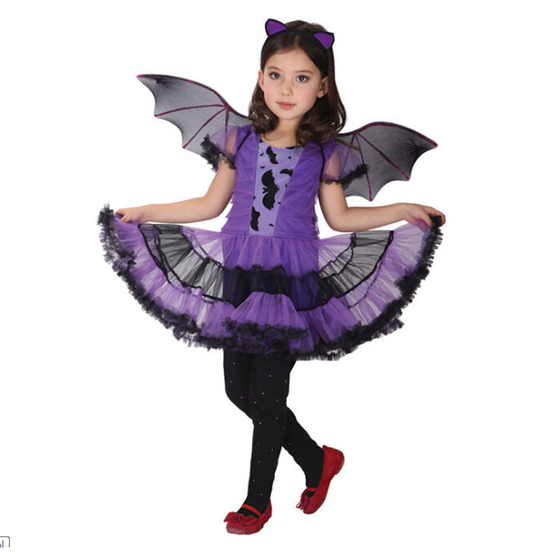 Halloween Purim Black Purple Vampire Costume Bat Girl