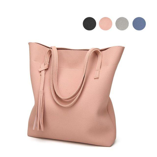 222f08a6bd Fashion Women Handbag Leather Solid Color Tassels Girls Shoulder Bag Travel  Shopping Big Capacity Ladies Casual Bags LXX