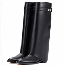 Genuine Leather Black Shark Lock Boot Silver Buckle Pointed Toe Flat Women Boots Knee High Ladies Winter Long Ridding