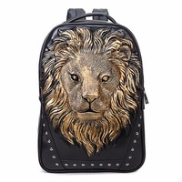 Fashionable Men Women Soft PU Leather Backpack Large Capacity Lion Head Decoration School Bag Notebook Laptop