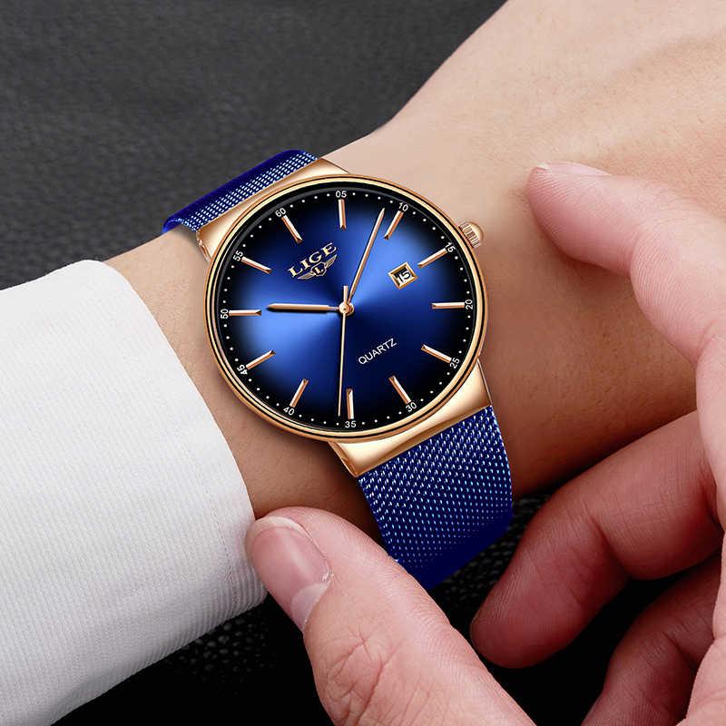 ליגע חדש Mens שעונים למעלה מותג יוקרה אופנה רשת חגורת שעון גברים עמיד למים שעון יד אנלוגי קוורץ שעון erkek kol saati