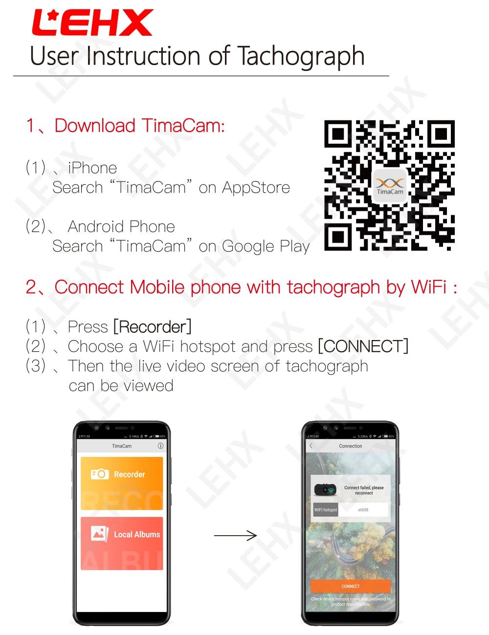 LEHX Car DVR Dash Cam Registrator Digital Video Recorder Camera 1080P Night  Vision Novatek 96658 IMX 322 323 WiFi