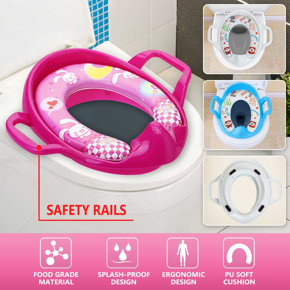 Child Toddler Kids Portable Safety Seats Soft Toilet Training Trainer Potty Seat Handles Urinal Cushion Pot Chair Pad Mat