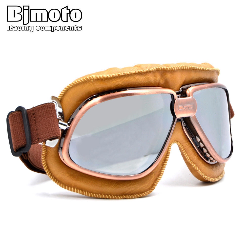 BJMOTO וינטג הארלי סגנון אופנוע קסדה משקפי מגן סקוטר משקפיים אביאטור טייס סירה Steampunk 5 צבעים