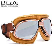 BJMOTO Vintage Harley Style Motorcycle Helmet Goggles Scooter Glasses Aviator Pilot Cruiser Steampunk 5 Colors