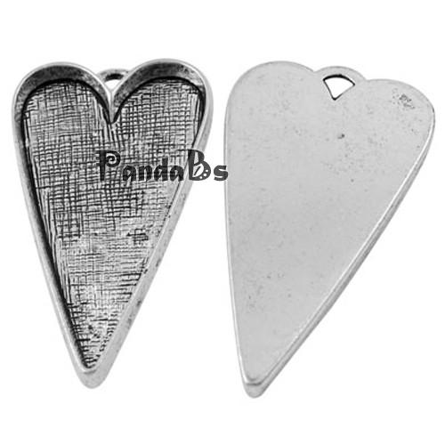 50pcs 53.5x30mm <font><b>Tibetan</b></font> <font><b>Style</b></font> Alloy Heart Large <font><b>Pendant</b></font> Cabochon Bezel Settings, <font><b>Antique</b></font> <font><b>Silver</b></font>, <font><b>Lead</b></font> <font><b>Free</b></font> and Cadmium <font><b>Free</b></font>