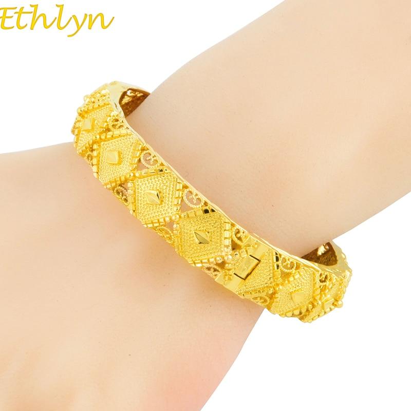 Ethlyn Top Quality Vintage Ethiopian Bangle for Women Gold Color Dubai Bride Wedding Bracelet Africa Arab Jewelry B060