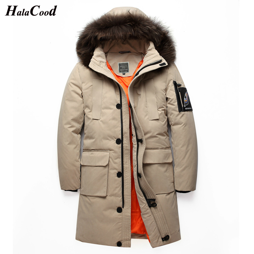High Quality Lovers Down Jacket Men White Duck Down Coat Long Male Jacket Coat Windproof Warm Big Wool Collar 2018 Autum Winter