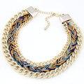 Moda Cuerda Trenzada de Cadena de Oro Collar de la Declaración para Las Mujeres Gargantilla Collar de La Vendimia Collares y Colgantes collares collier femme