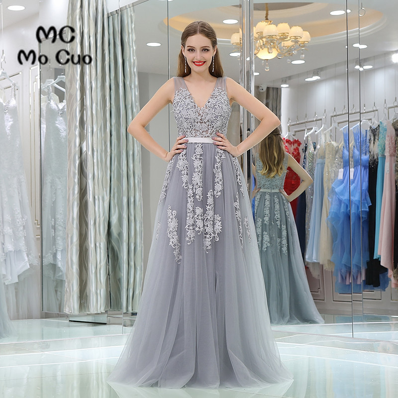 New Arrival 2017 Grey Prom dresses with Appliques V Neck long graduation dresses Backless