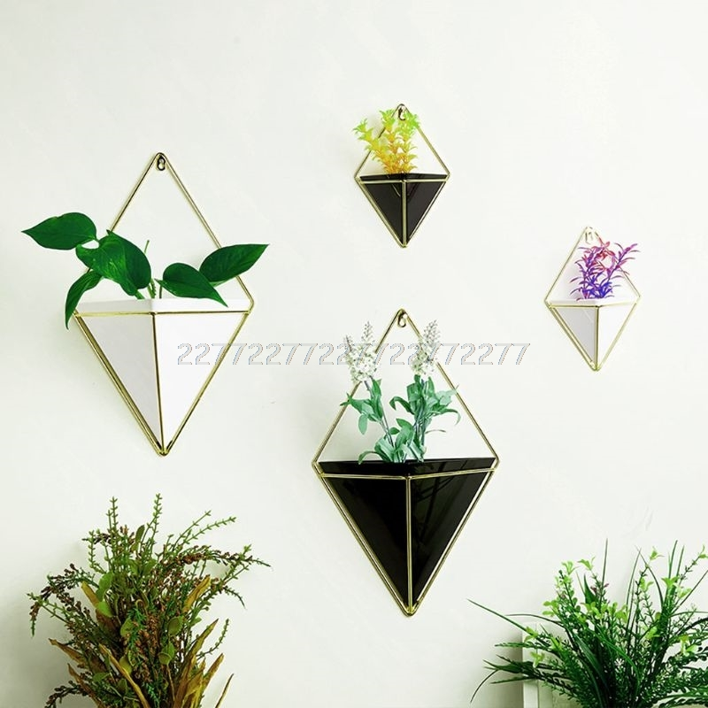 Geometric Hanging Flower Pots Holder Garden Succulent Plants Hanger Home Wall Decorations J09 19 dropship