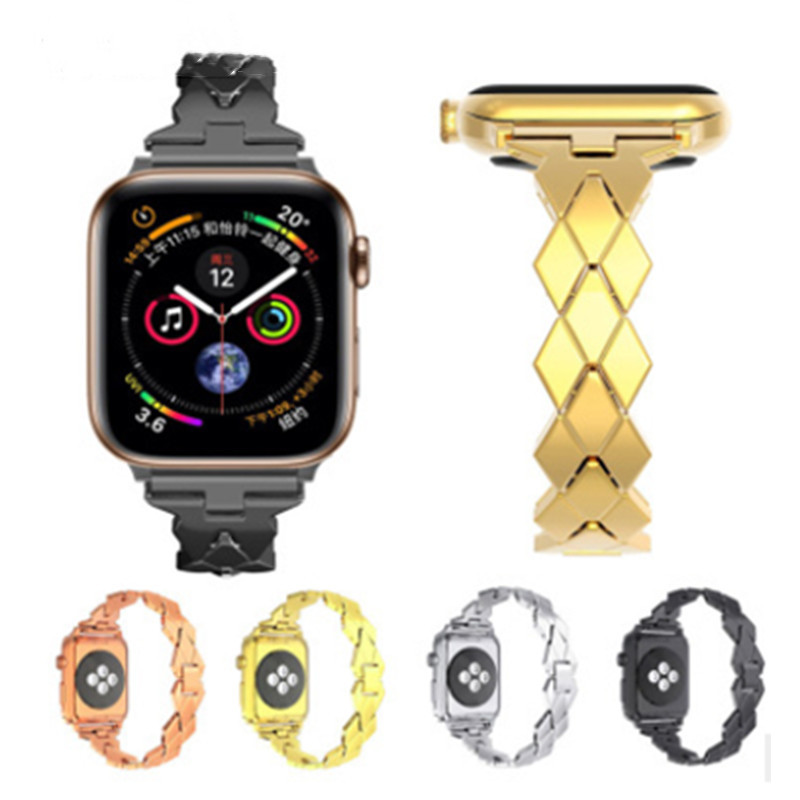 Applicable To For  Apple Table 4 Generations Strap Irregular Rhinestone Metal Stainless Steel Alloy Steel Belt For Iwatch4 Strap