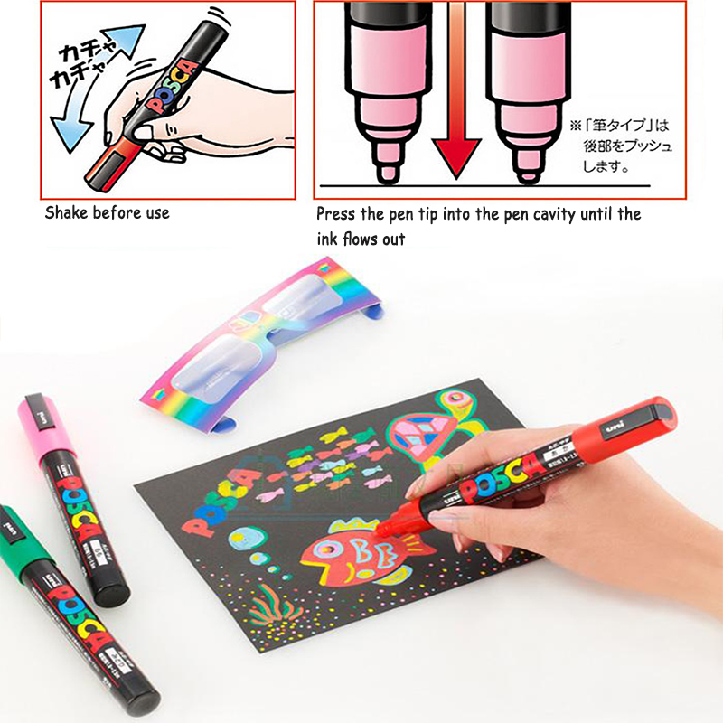 Mitsubishi UNI Posca PC-1M Marker Extra Fine Bullet Tip 0.7mm Water Resistance Paint Writing Pen for Advertising,Poster,POP,CDMitsubishi UNI Posca PC-1M Marker Extra Fine Bullet Tip 0.7mm Water Resistance Paint Writing Pen for Advertising,Poster,POP,CD