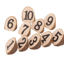 10pcs/lot Natural Digital bevel Wooden Clips Decorations Number 1-10 Photo Clips For Message Cards Office Supply(China)