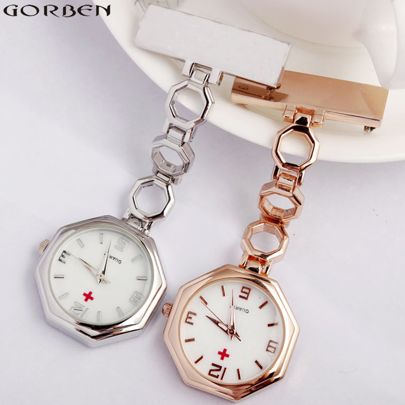Paramedic Brooch Clip-on Rose Gold Silver Fob Nurse Pocket Watch Stainless Steel Nursing Clock For Doctors Medicals Gifts