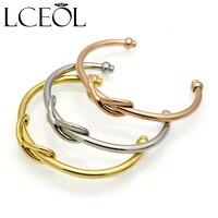 LCEOL Titanium Steel Hand Made Knot Cuff Bracelet Manchette Gold Bangle Infinite Bracelet For Women Bracelets
