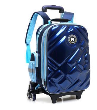 3D  Boy's Trolley Bag With Wheels For School Kids Rolling Bag On Wheels Children's Travel Bag 6 Wheels School Trolley Backpack