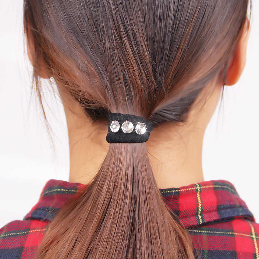 10PCS Female Elastic Hair Bands With Three Luxury Rhinestone Hair Circle Gift for Girl Hair Accessories