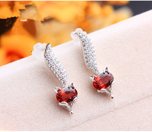 2017 Korean 925 Sterling Silver Jewellery Cute Beautiful Creative Little Fox Mosaic Zircon Garnet Stud Earring For Women XE009