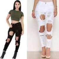 KL927 White black summer street fashion high waist pants women denim hole tear vintage ripped jeans feminino