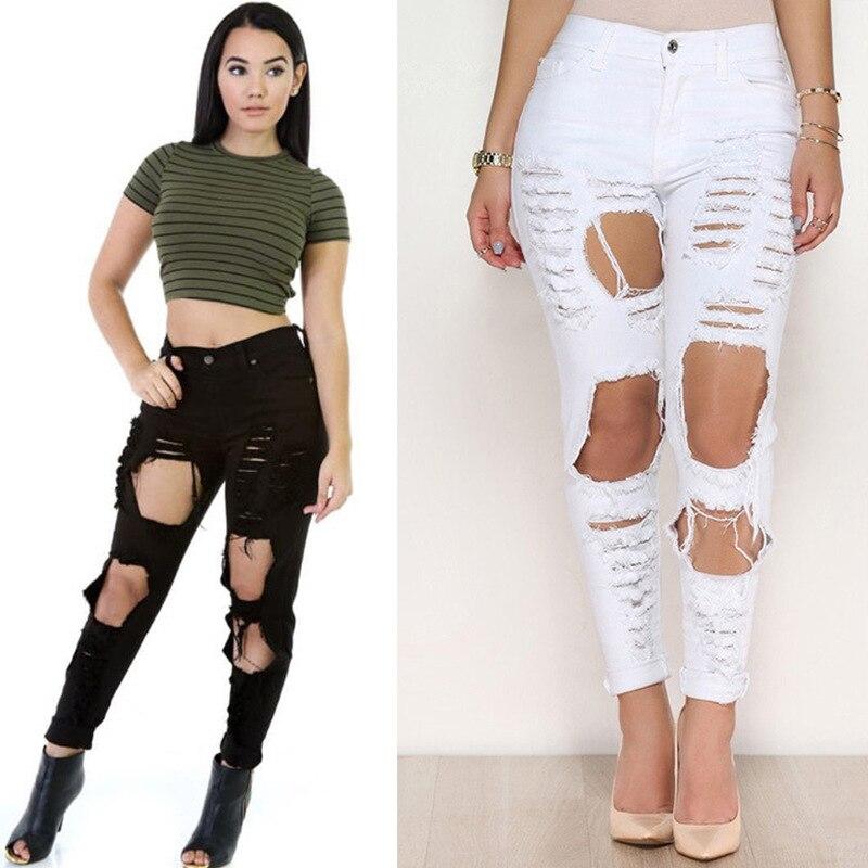KL927 White black summer street fashion high waist pants women denim hole tear vintage ripped jeans