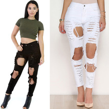 KL927 White black summer street fashion high waist pants women denim hole tear vintage ripped jeans feminino