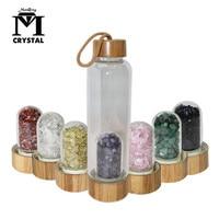 2019 Drop Shipping Natural Crystal Quartz Gravel Gemstone Healing Glass Energy Elixir drink Water Bottle Bamboo glass cup gift