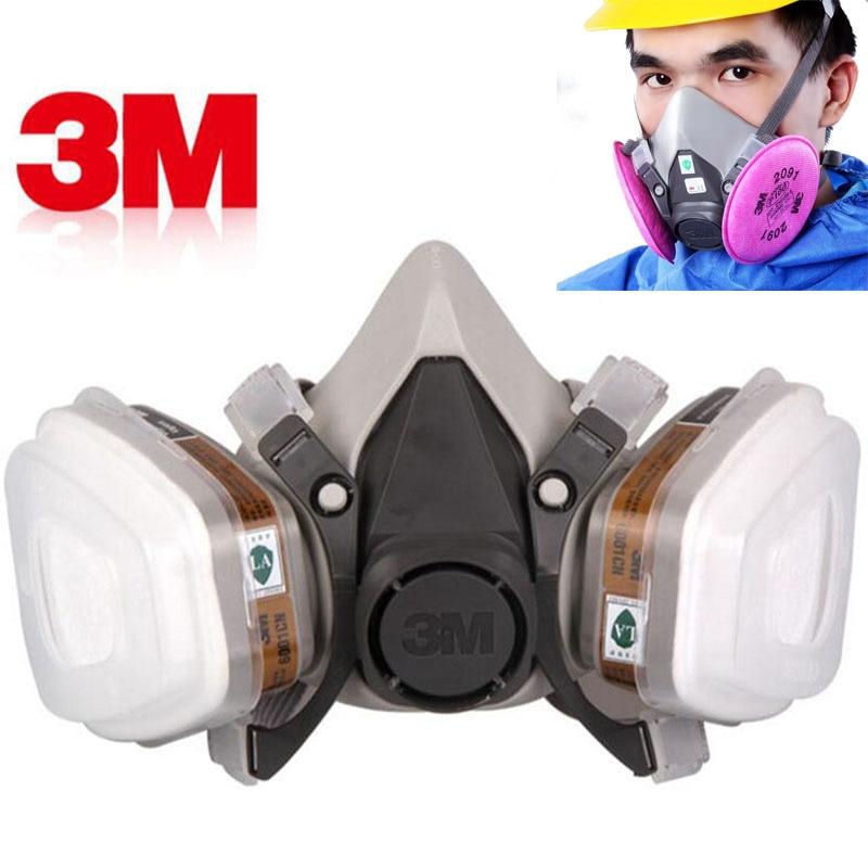 3 m 6200 גז מסכת ריסוס צבע בטיחות עבודה חצי פנים הנשמה תעשיית אבק מסכה עם מסנן