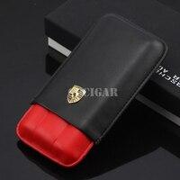 High-end Rosso/Giallo Portatile Leather Case Cigar Holder 3 Tubo Mini Outdoor Viaggio Humidor w/Regalo Box