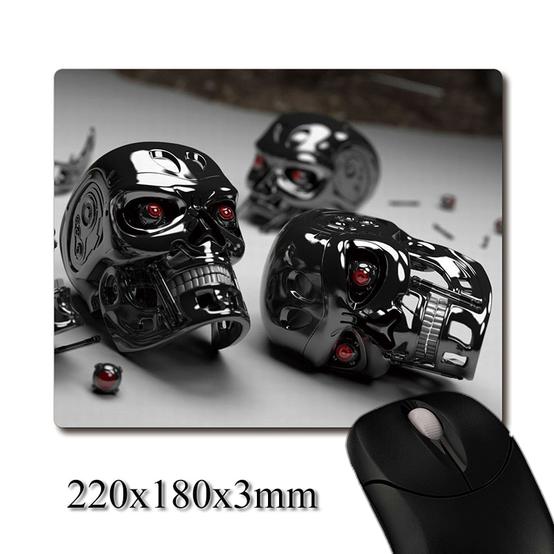 T-800 robot head parts scattered on the ground printed Heavy weaving anti-slip rubber office mouse pad Coaster Party favor gifts
