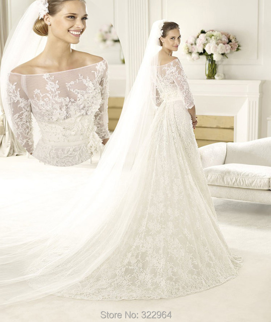 2015 Amazing A Line Boat Neck Lace Wedding Dresses with Half Sleeves ...