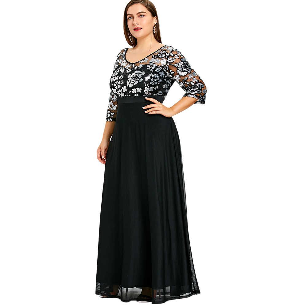Plus Size Sequined Floral Maxi Prom Women Dress Elegant Party Dresses Large  Size 5XL V- d5c5abcc1d25