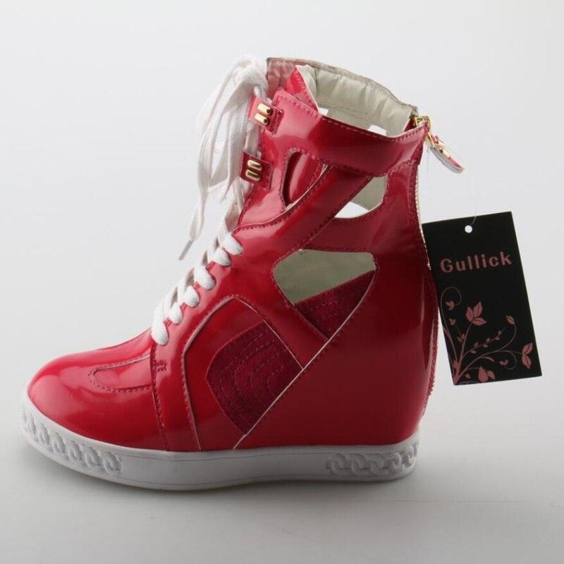 Красный Повседневное высота incresaing женские ботинки модные с перекрестной шнуровкой круглый носок лакированные кожаные туфли Повседневное ...