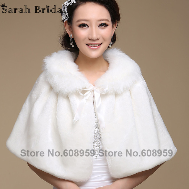 Wedding Jacket Wrap Shawl Cloak Cape Bridal Bolero Winter Wraps Coat Stole Faux Fur Fabric