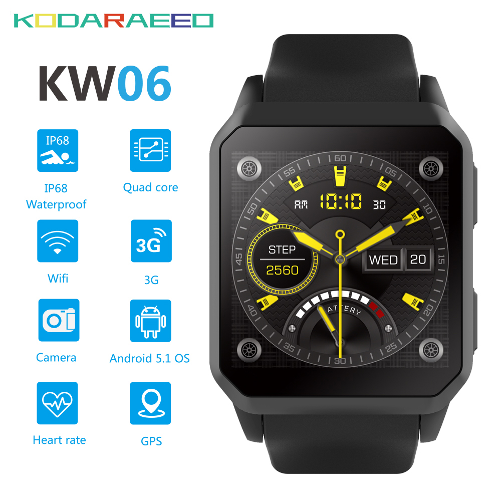 KW06 Smart Watch 3G Android 5.1 MTK6580 Quad Core PK KW88 Wifi GPS SmartWatch Fitness Tracker Heart Rate tracker jrgk kw99 3g smartwatch phone android 1 39 mtk6580 quad core heart rate monitor pedometer gps smart watch for mens pk kw88