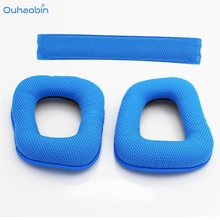 Ouhaobin 1 Pair of Replacement Soft Foam Ear Pads Blue Ear Cushions One Headband Earpad for Logitech G430 G930 Headphones Set1