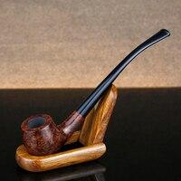 Top Grade Briar Wood Pipe 3mm Filter Smoking Pipe Briar Tobacco Pipe free tools set 17cm Long Briar Pipe Smoking Accessory