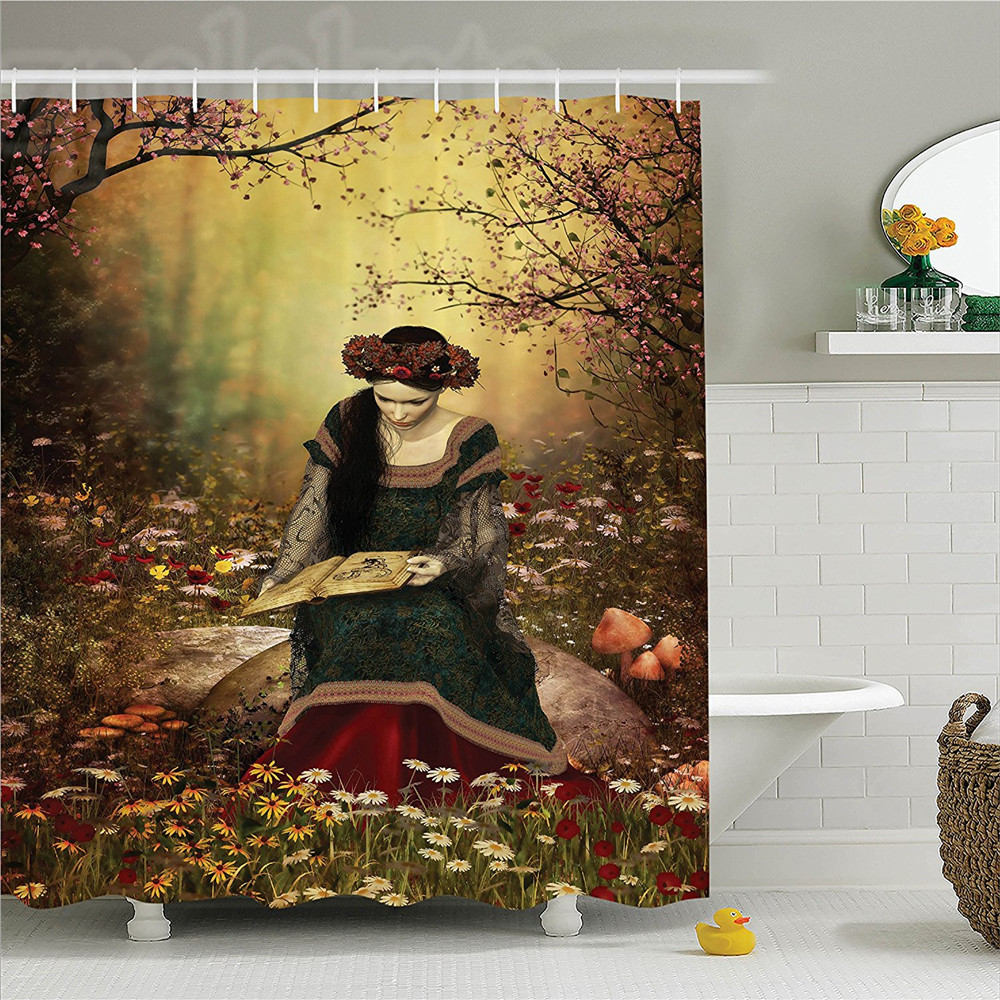 Lady on Stone and Reading Book Forest Flowers Medieval Art Shower Curtain Set