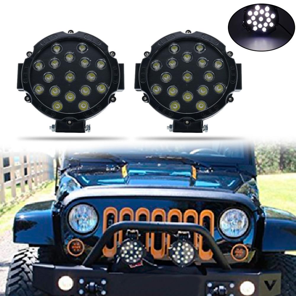 6.3 inch 51W Black/Red Led Light Bar 6000K Spot Offroad LED Work Light for Jeep Off road Vehicles 4x4 Atvs Utvs