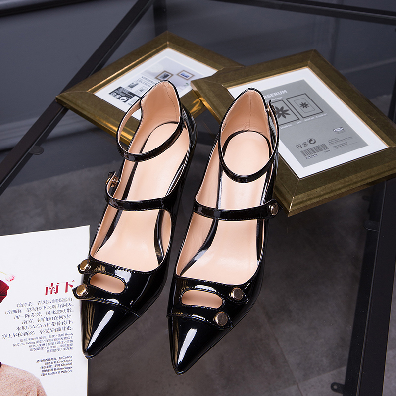 ФОТО Punk Thin Gothic Style High Heel Ankle Strap Women Shoes Button 100% Leather Heel Height 7.5 CM Woman Pump Ladies Party Shoes
