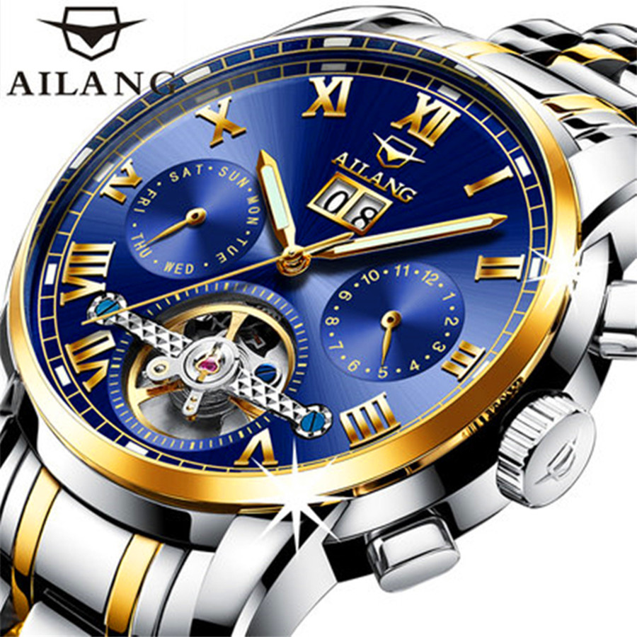 2017 Luxury Mechanical Watch Tourbillon Designer Watches Top Quality Automatic Watch with Date Day Full Steel Watch for Men forsining tourbillon designer month day date display men watch luxury brand automatic men big face watches gold watch men clock