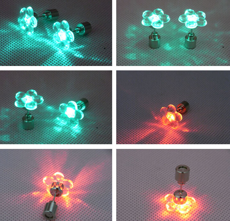 589fd81fa 100pcs Flower Shape Earrings LED Light Up Bling Ear Studs Women Earrings  Accessories for Dance Stainless Steel Party Earing-in Glow Party Supplies  from Home ...