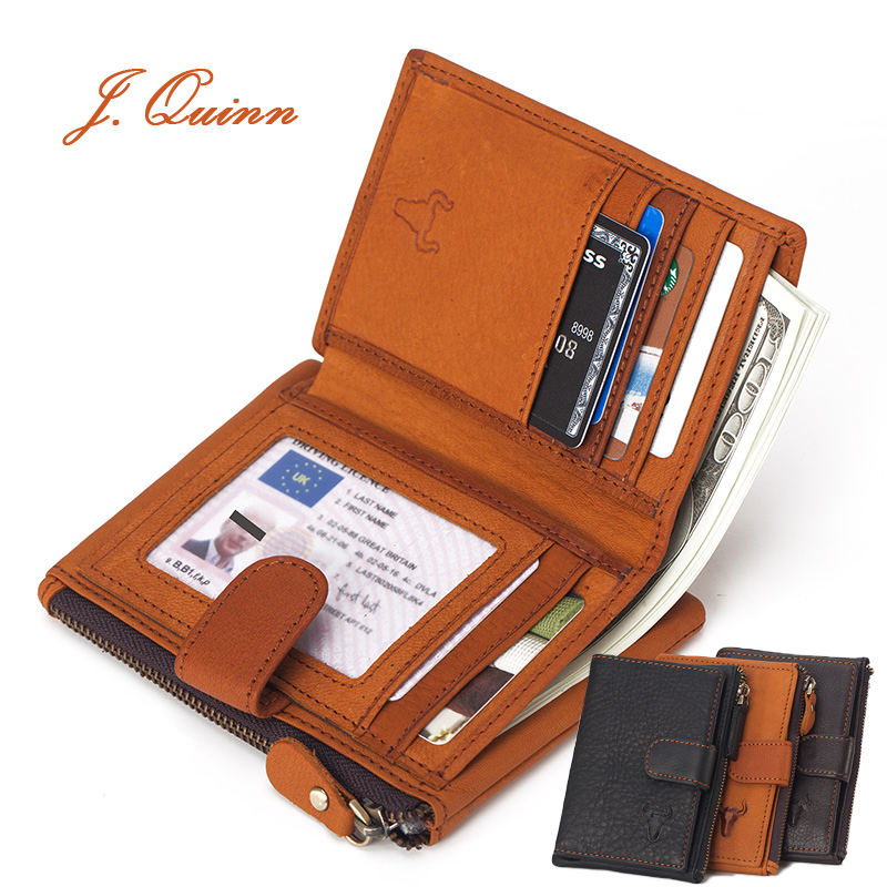 J.Quinn Vintage Mens Wallets Coin Pocket Genuine Leather Wallet for Men Card Photo Holder Short Bifold Zipper Hasp Purse New